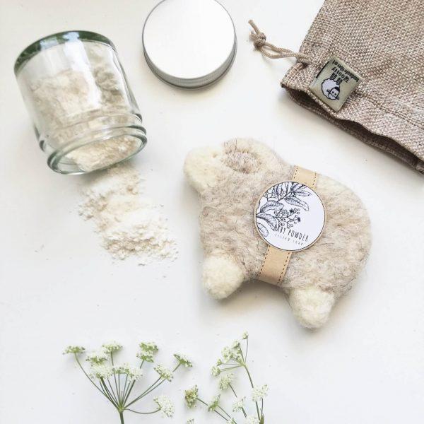 nemezelt bárány alakú szappan baba púder illattal gyapjúból